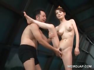 Asian pussy fingering and dick licking with cute sex doll