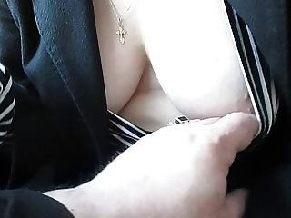 Touching her tits panties and stockings in a train