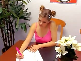 Teen Topanga in white skirt masturbates