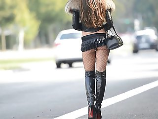 The Best hookerexhibitionist in microskirthigh heels boots