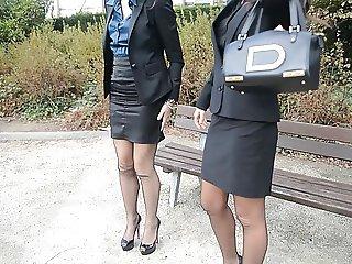 2 young sexy secretaries in vintage stockings garterbelt