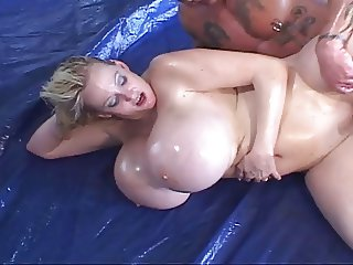 Kayla Huge Fake Oily Tits