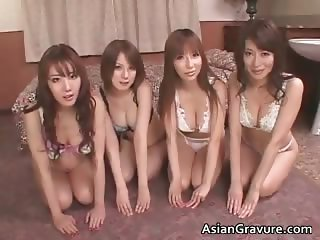 Gorgeous asian brunette babes suck stiff part3