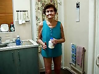Really old toothless granny flashes tits and pussy