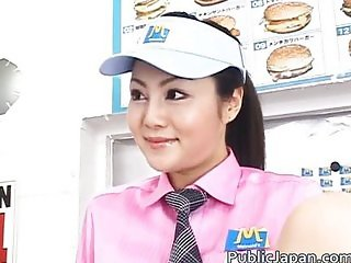 Horny Asian girl gets horny in the store