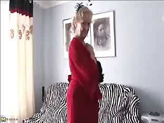 Old sexy 70y.o granny loves to play