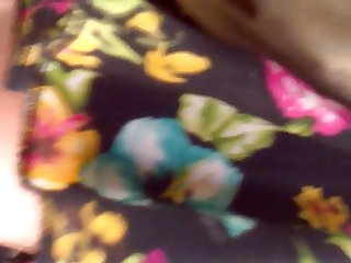 Black skirt with flowers.