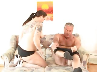 Chubby mature with tattoos fucks