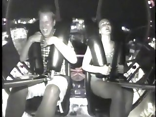 Girl orgasm via rollercoaster..
