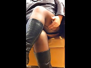 Black seamed stockings boots leather mini skirt