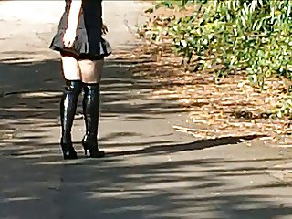 Walking in a micro skirt