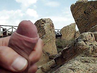 outdoor risky masturbation in the beach