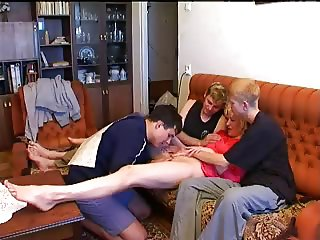Russian guys and granny