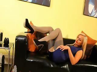 blond in incredible nylon pantyhose