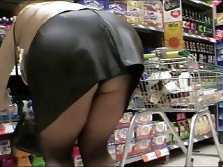 Black tights pvc mini skirt and new heels