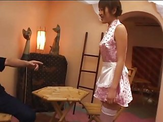 avmost Asian maid polishing not the floor but