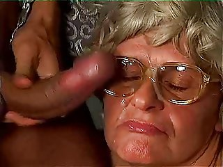 Garnny gets a good fucking and gets cum on her glasses
