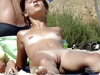 Nudist with her vulva hanging out
