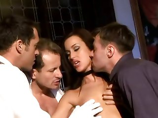 Hot orgy with sexy maid Simone