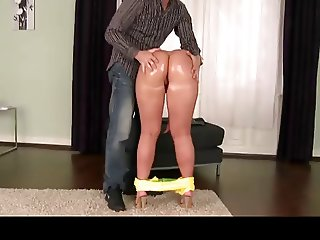Hungarian slut takes a big load of cum on her big ass
