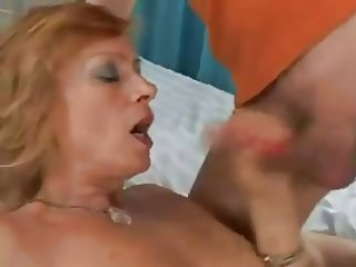 Hairy Mature wakes up a young sucking his cock and fucking
