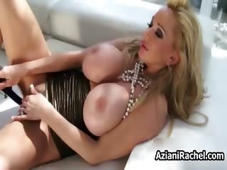 Busty blonde babe goes crazy dildo part6