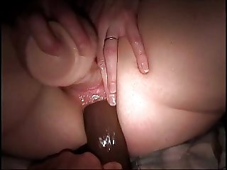 Wife Big Black Dildo in Her Ass Huge Toy in Pussy DP