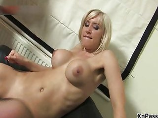 Blonde with big tits gets her pussy