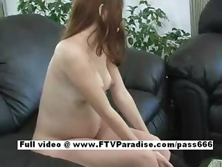 Erika lovely redhead babe on the couch