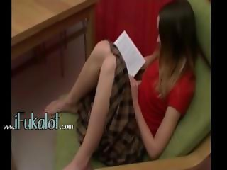 sexy masturbation on green chair