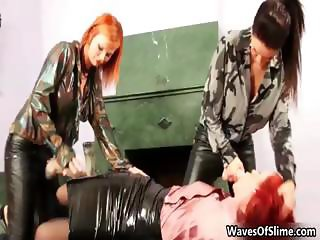 Sexy redhead babe sucking on a brunette part2