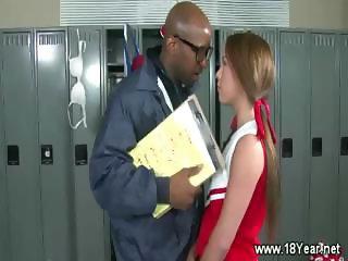 Teen blonde sucks lucky black gym teachers cock