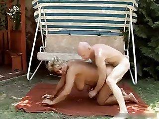 Hot Busty Granny Banging Outside