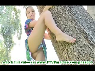 Amie lovely petite blonde with natural tits flashing panties undressing and masturbating and walking naked outdoors