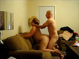 Chubby girl sucking cock and getting doggy fucked