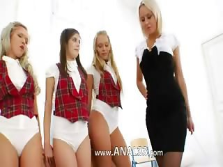 Three anal teenagers and their teacher