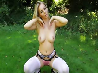 garden busty blonde making strip