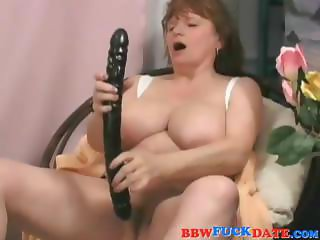 Mature BBW take big dildo and big black cock