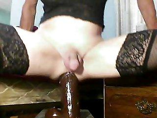 sissy anal slut using gaping ass with big black dildos