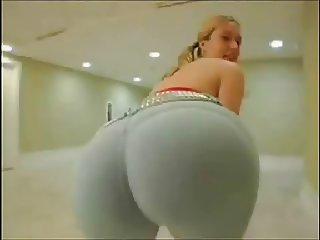 Big ass MILF blonde in tight yoga pants