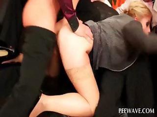 Horny blonde fucking four penises