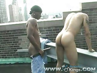 Outdoor fucking with a chest full of cum