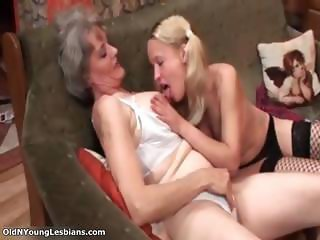 Old horny lesbian gets her tits sucked part1