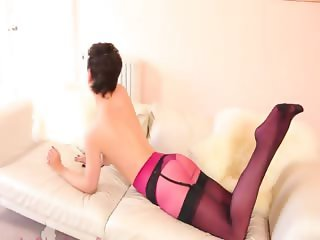 Super sexy purple pants and stockings