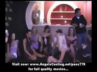 Club sex orgy with sweet bisexual chicks undressing and licking pussy