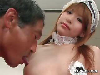 Asian sexy maiden gets boobies sucked