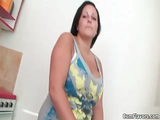 Sexy big tits brunette loves showing her part6