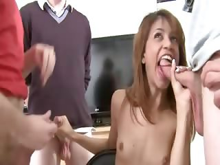 Two young bisexual girls smoking dick