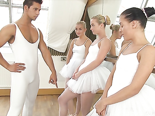 Ballerinas have an orgy with a lucky big dick guy